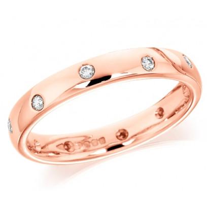 18ct Rose Gold Ladies 3mm Wedding Ring with Alternate Set Diamonds All Around, Total Diamond Weight 15pts