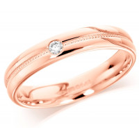 18ct Rose Gold Ladies 4mm Wedding Ring with Grooved and Beaded Centre and Set with Single 5pt Diamond