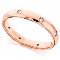 18ct Rose Gold Ladies 3mm Wedding Ring with Diamonds Set Evenly Spaced All Around, Total Diamond Weight 12pts