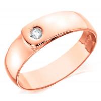 9ct Rose Gold Gents 7mm Wedding Ring Set with Single 7pt Diamond