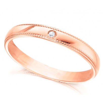 9ct Rose Gold Ladies 3mm Wedding Ring with Beaded Edges and Set with Single 1pt Diamond