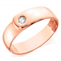 18ct Rose Gold Gents 7mm Wedding Ring Set with Single 7pt Diamond