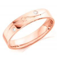 18ct Rose Gold Gents 5mm Wedding Ring with Frosted S-Shape Pattern and Set with 2 Diamonds, Total Weight 4pts