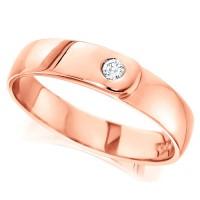 18ct Rose Gold Ladies 4mm Wedding Ring Set with Single 4pt Diamond