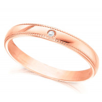 18ct Rose Gold Ladies 3mm Wedding Ring with Beaded Edges and Set with Single 1pt Diamond