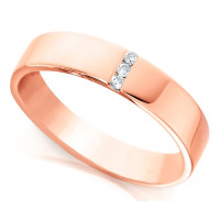 18ct Rose Gold Ladies 4mm Wedding Ring with 3 Channel Set Diamonds, Total Weight 3pts