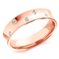 9ct Rose Gold Gents 5mm Concave Wedding Ring Set with 5 Alternate Set Diamonds, Total Weight 10pts