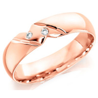 9ct Rose Gold Gents 6mm Wedding Ring with Diagonal Pattern and Set with 2 Diamonds, Total Weight 4pts