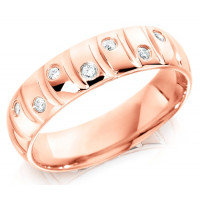 9ct Rose Gold Gents 6mm Wedding Ring with Curved Grooves and 14pts of Alternate Set Diamonds
