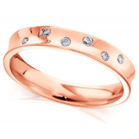 9ct Rose Gold Wedding Ring, Ladies 4mm Concave Ring with Set with 5 Alternate Set Diamonds, Total Weight 7pts