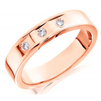 18ct Rose Gold Gents 5mm Wedding Ring with 3 Flat Cuts and a Diamond Set in Each, Total Weight 9pts