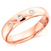 9ct Rose Gold Gents 5mm Wedding Ring Set with 3 Diamonds, Total Weight 0.15ct