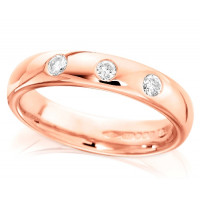 9ct Rose Gold Ladies 4mm Wedding Ring Set with 3 Diamonds, Total Weight 0.15ct