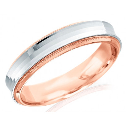 18ct Rose and White Gold Gents 5mm Wedding Ring with Concave Centre