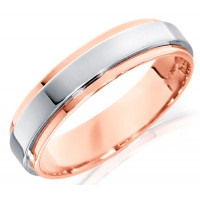 18ct Rose and White Gold Gents 5mm Wedding Ring with Raised Centre