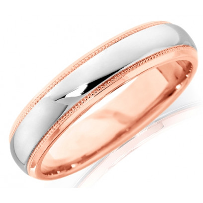 18ct Rose and White Gold Gents 5mm Wedding Ring with Plain Centre and Beaded Edges