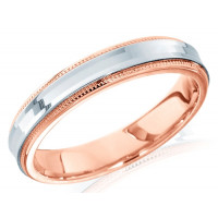18ct Rose and White Gold Ladies 4mm Wedding Ring with Concave Centre
