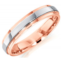 18ct Rose and White Gold Ladies 4mm Wedding Ring with Raised Centre
