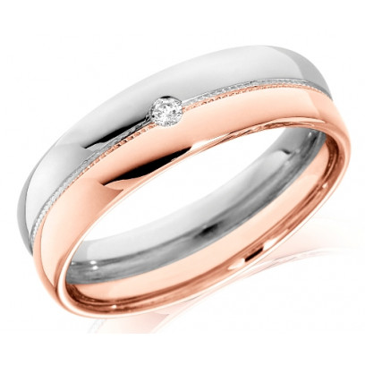 9ct Rose and White Gold Gents 6mm Wedding Ring with Beaded Centre and Set with Single 4pt Round Diamond