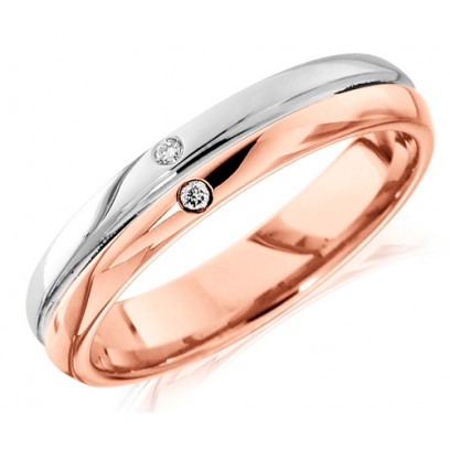 9ct Rose and White Gold Gents 6mm Wedding Ring with Grooved Centre and Set with 2 Diamonds, Total Weight 3pts