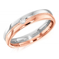 9ct Rose and White Gold Ladies 4mm Wedding Ring with Beaded Centre and Set with a Single 4pt Round Diamond