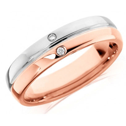 9ct Rose and White Gold Ladies 4mm Wedding Ring with Grooved Centre and Set with 2 Diamonds, Total Weight 2pts