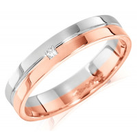 9ct Rose and White Gold Ladies 4mm Wedding Ring with Grooved Centre and Set with a Single 2pt Princess Cut Diamond