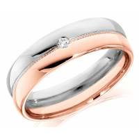 18ct Rose and White Gold Gents 6mm Wedding Ring with Beaded Centre and Set with Single 4pt Round Diamond