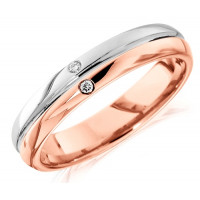 18ct Rose and White Gold Gents 6mm Wedding Ring with Grooved Centre and Set with 2 Diamonds, Total Weight 3pts
