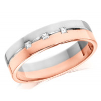 18ct Rose and White Gold Gents 6mm Wedding Ring with Grooved Centre and Set with 3 Princess Cut Diamonds, Total Weight 10pts