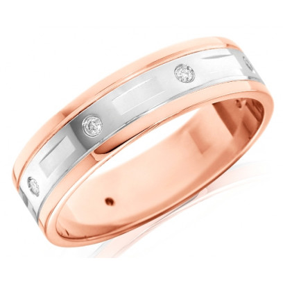 18ct Rose and White Gold Gents 6mm Wedding Ring with Alternate Diamond and Flat Cuts All Around, Total Diamond Weight 12pts