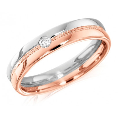 18ct Rose and White Gold Ladies 4mm Wedding Ring with Beaded Centre and Set with a Single 4pt Round Diamond