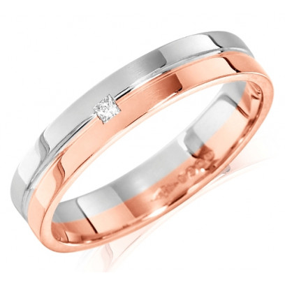 18ct Rose and White Gold Ladies 4mm Wedding Ring with Grooved Centre and Set with a Single 2pt Princess Cut Diamond