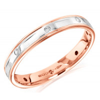 18ct Rose and White Gold Ladies 4mm Wedding Ring with Alternate Diamond and Flat Cuts All Around, Total Diamond Weight 6pts