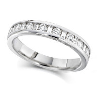 Platinum Ladies Half Eternity Ring  Set With 0.50ct Of Round And Baguette Cut Diamonds