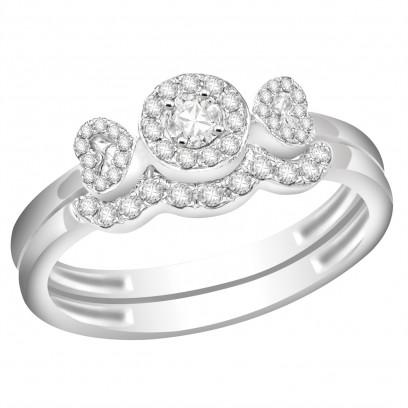 Ladies 18ct White Gold Interlocking Engagement and Wedding Diamond Ring set with 0.29ct H/SI Diamonds
