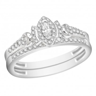 Ladies 18ct White Gold Interlocking Engagement and Wedding Diamond Ring set with 0.30ct H/SI Diamonds