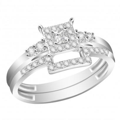 Ladies 18ct White Gold Interlocking Engagement and Wedding Diamond Ring set with 0.33ct H/SI Diamonds