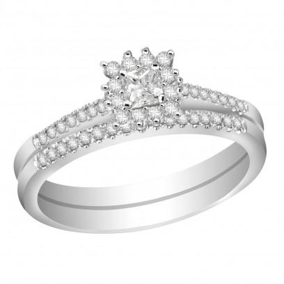 Ladies 18ct White Gold Interlocking Engagement and Wedding Diamond Ring set with 0.24ct H/SI Diamonds
