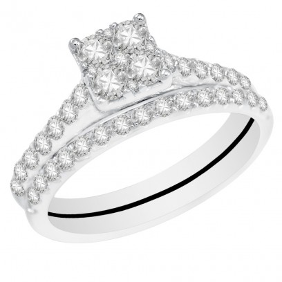 Ladies 18ct White Gold Interlocking Engagement and Wedding Diamond Ring set with 0.97ct H/SI Diamonds
